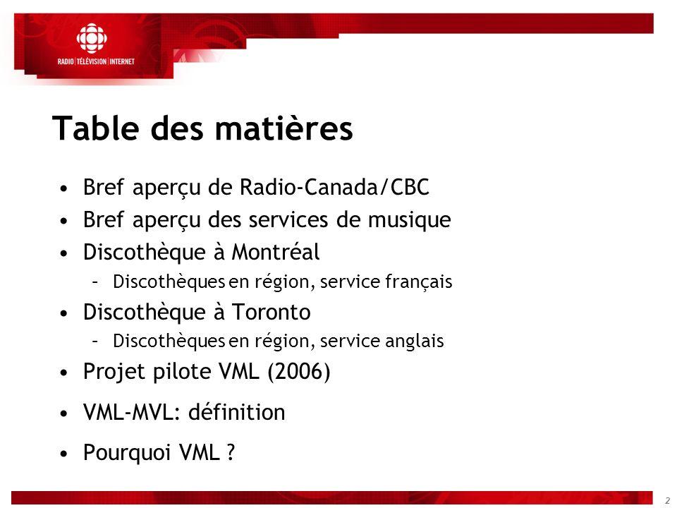 2 Table des matières Bref aperçu de Radio-Canada/CBC Bref aperçu des services de musique Discothèque à Montréal –Discothèques en région, service franç