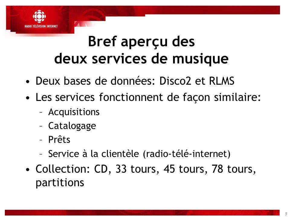 5 Bref aperçu des deux services de musique Deux bases de données: Disco2 et RLMS Les services fonctionnent de façon similaire: –Acquisitions –Cataloga