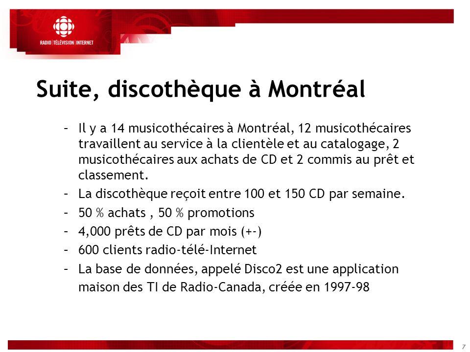 7 Suite, discothèque à Montréal –Il y a 14 musicothécaires à Montréal, 12 musicothécaires travaillent au service à la clientèle et au catalogage, 2 mu
