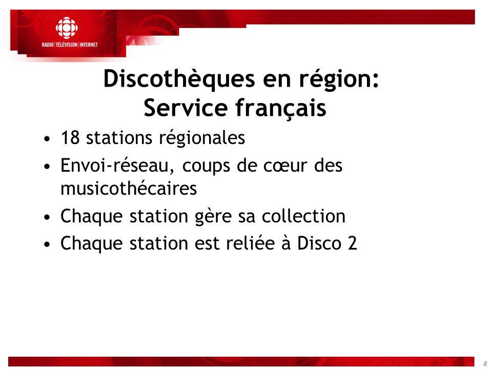 8 Discothèques en région: Service français 18 stations régionales Envoi-réseau, coups de cœur des musicothécaires Chaque station gère sa collection Ch