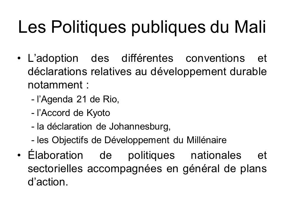 Les Politiques publiques du Mali Ladoption des différentes conventions et déclarations relatives au développement durable notamment : - lAgenda 21 de