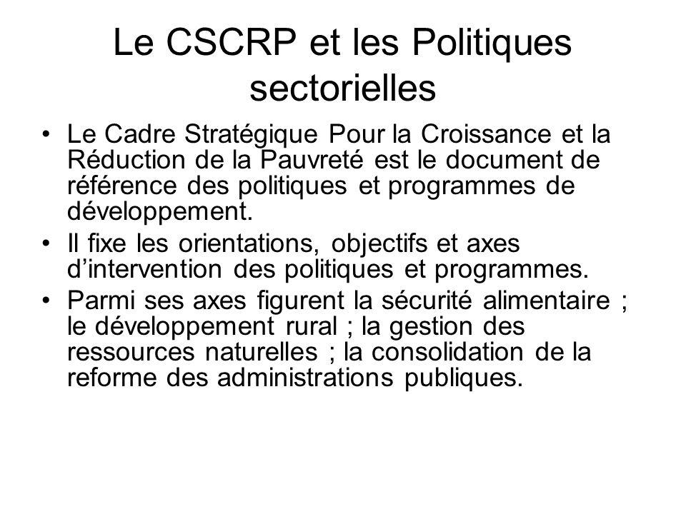 Le CSCRP et les Politiques sectorielles Le Cadre Stratégique Pour la Croissance et la Réduction de la Pauvreté est le document de référence des politi