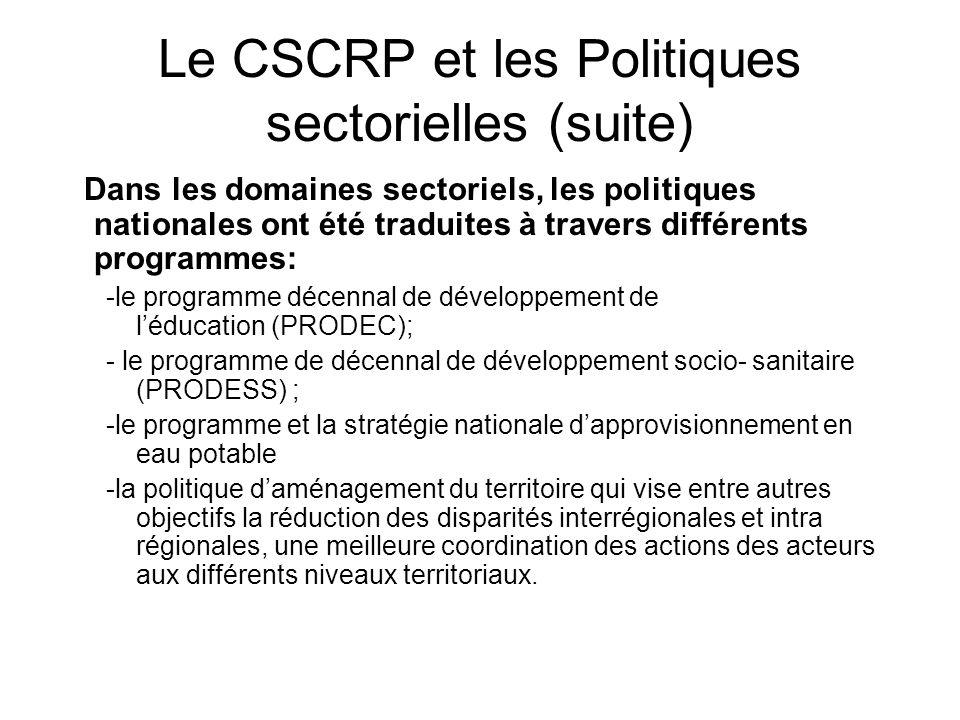Le CSCRP et les Politiques sectorielles (suite) Dans les domaines sectoriels, les politiques nationales ont été traduites à travers différents program