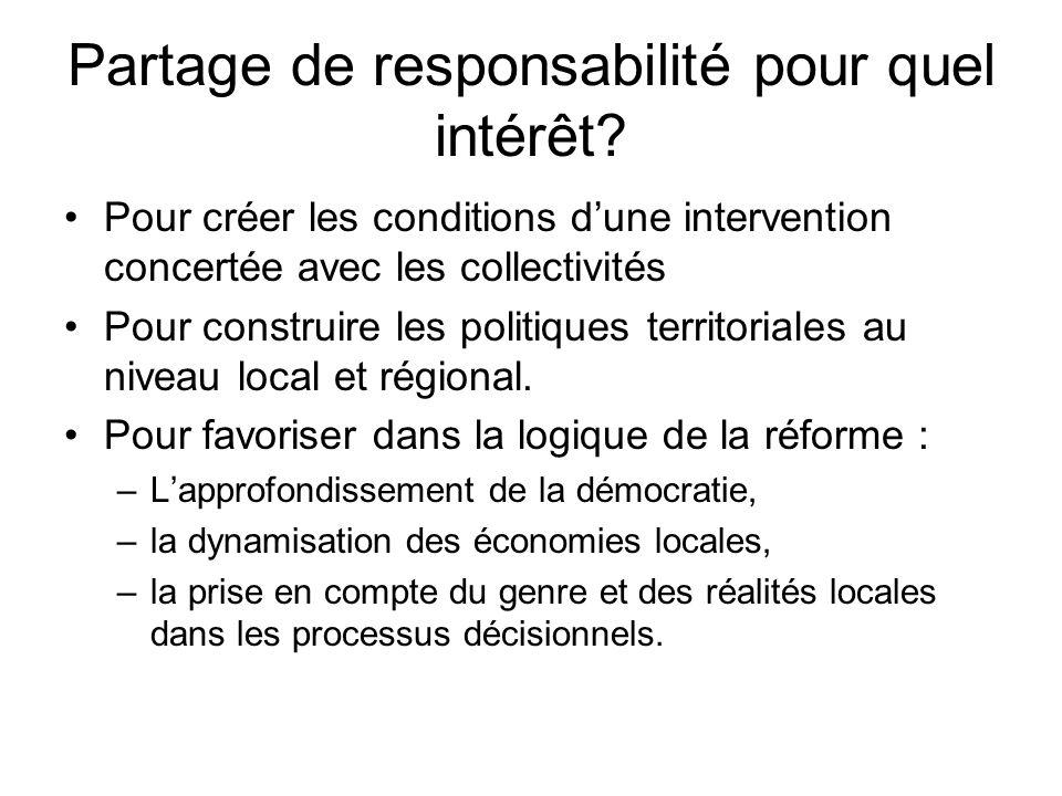 Partage de responsabilité pour quel intérêt? Pour créer les conditions dune intervention concertée avec les collectivités Pour construire les politiqu