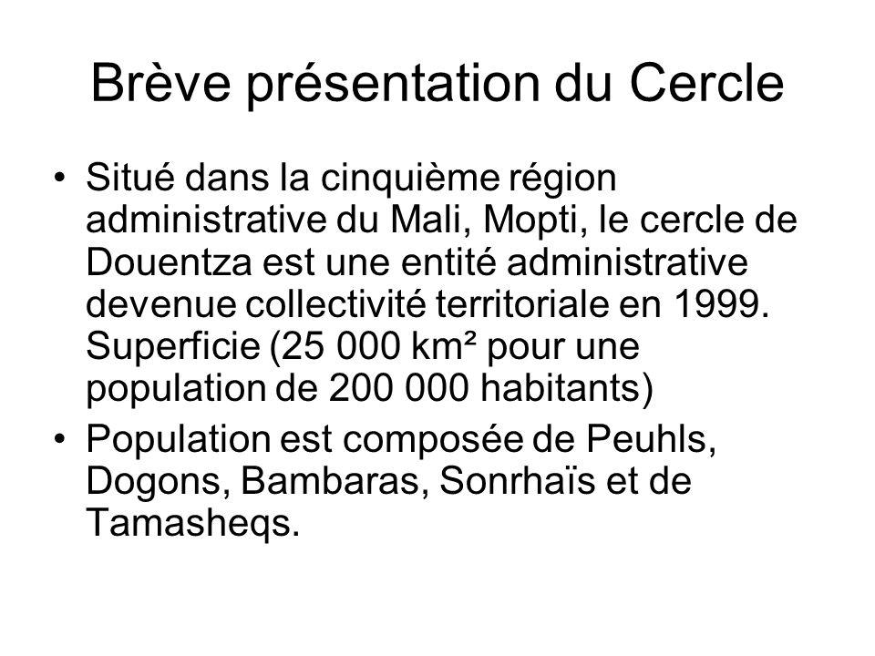 Brève présentation du Cercle Situé dans la cinquième région administrative du Mali, Mopti, le cercle de Douentza est une entité administrative devenue