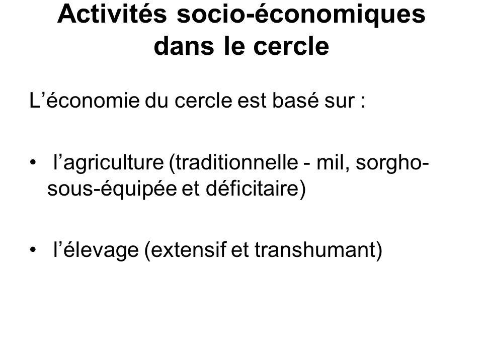 Activités socio-économiques dans le cercle Léconomie du cercle est basé sur : lagriculture (traditionnelle - mil, sorgho- sous-équipée et déficitaire)