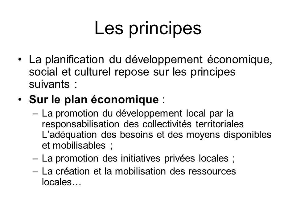Les principes La planification du développement économique, social et culturel repose sur les principes suivants : Sur le plan économique : –La promot