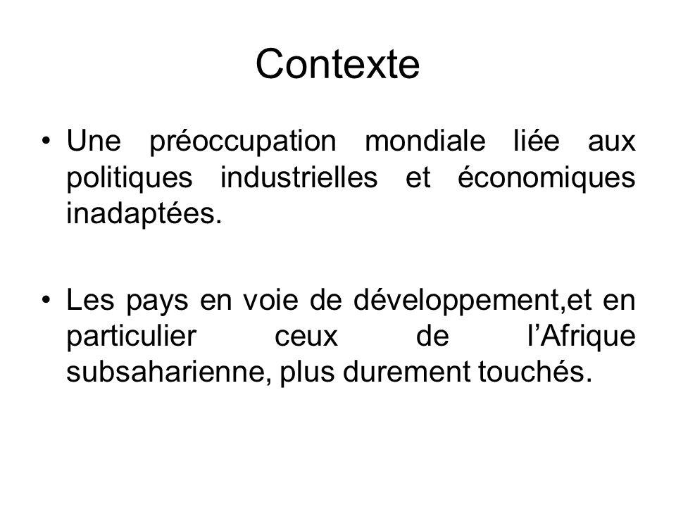 Contexte Une préoccupation mondiale liée aux politiques industrielles et économiques inadaptées. Les pays en voie de développement,et en particulier c