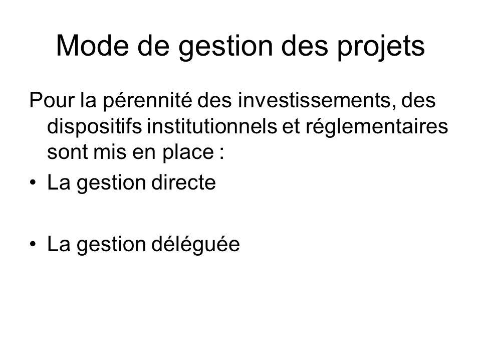 Mode de gestion des projets Pour la pérennité des investissements, des dispositifs institutionnels et réglementaires sont mis en place : La gestion di