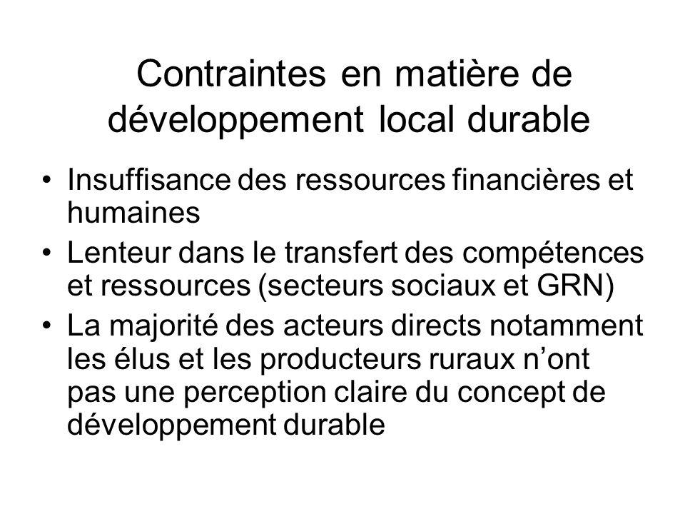 Contraintes en matière de développement local durable Insuffisance des ressources financières et humaines Lenteur dans le transfert des compétences et