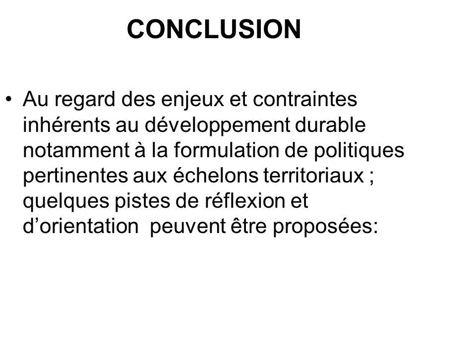 CONCLUSION Au regard des enjeux et contraintes inhérents au développement durable notamment à la formulation de politiques pertinentes aux échelons te