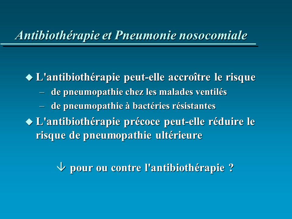 Antibiothérapie et Pneumonie nosocomiale u L'antibiothérapie peut-elle accroître le risque – de pneumopathie chez les malades ventilés – de pneumopath