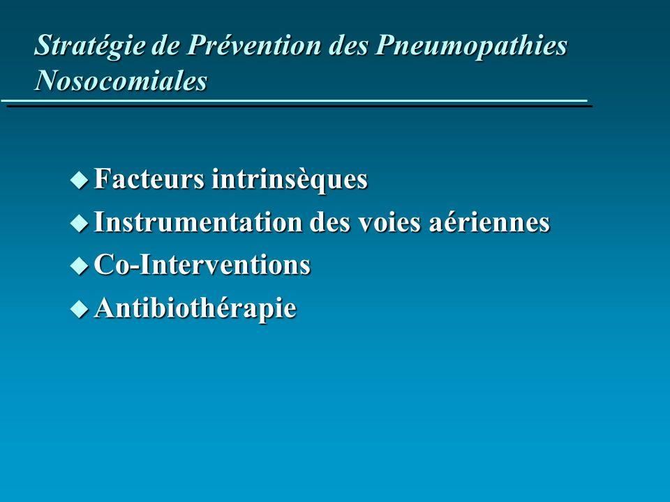 Stratégie de Prévention des Pneumopathies Nosocomiales u Facteurs intrinsèques u Instrumentation des voies aériennes u Co-Interventions u Antibiothéra