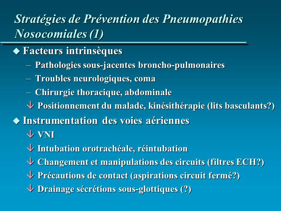 Stratégies de Prévention des Pneumopathies Nosocomiales (1) u Facteurs intrinsèques –Pathologies sous-jacentes broncho-pulmonaires –Troubles neurologi