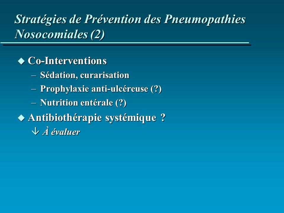 Stratégies de Prévention des Pneumopathies Nosocomiales (2) u Co-Interventions –Sédation, curarisation –Prophylaxie anti-ulcéreuse (?) –Nutrition enté