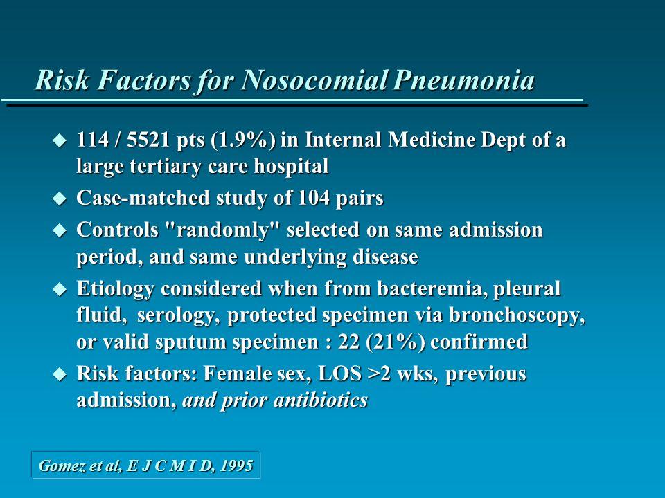Antibiothérapie et Risque de Pneumopathie u 3 ICUs ; 277 pts ventilés >24h u Incidence VAP 15.5% (43 pts) –Durée de ventilation moyenne 6.5 j –66% des cas < 5 j Facteurs de Risque de VAP Facteurs de Risque de VAP â Dysfonction viscérale >3 (aOR 10.2 [4.5-23]) â Age > 60 (aOR 5.1 [1.9-14.1]) â Position allongée (aOR 2.9 [1.3-6.8]) â Antibiotiques préalables (aOR 3.1 [1.4-6.9] ) Kollef, JAMA, 1993