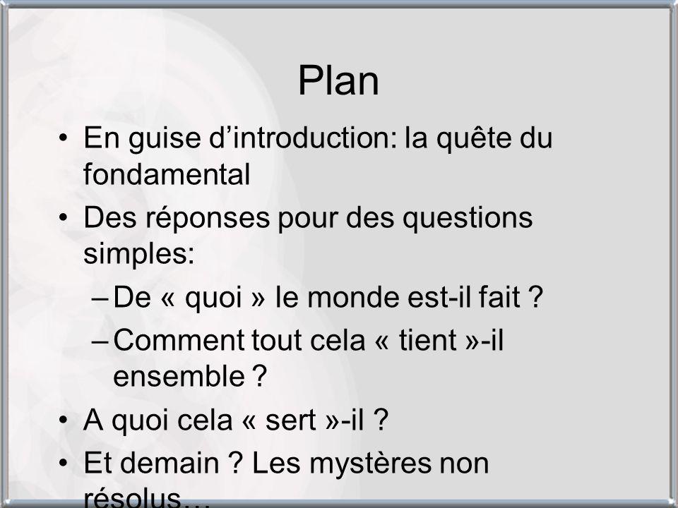 Plan En guise dintroduction: la quête du fondamental Des réponses pour des questions simples: –De « quoi » le monde est-il fait ? –Comment tout cela «