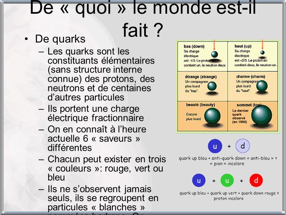 De « quoi » le monde est-il fait ? De quarks –Les quarks sont les constituants élémentaires (sans structure interne connue) des protons, des neutrons