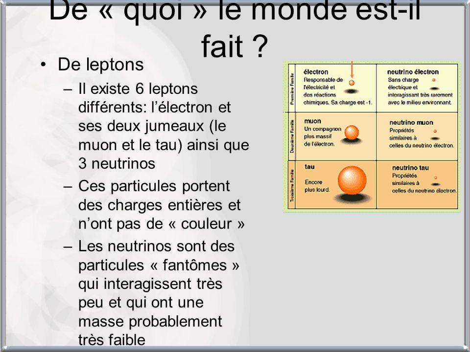 De « quoi » le monde est-il fait ? De leptons –Il existe 6 leptons différents: lélectron et ses deux jumeaux (le muon et le tau) ainsi que 3 neutrinos