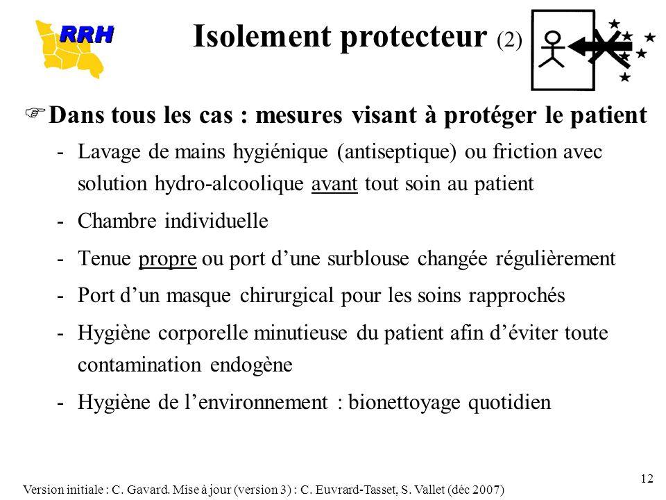 Version initiale : C. Gavard. Mise à jour (version 3) : C. Euvrard-Tasset, S. Vallet (déc 2007) 12 Dans tous les cas : mesures visant à protéger le pa