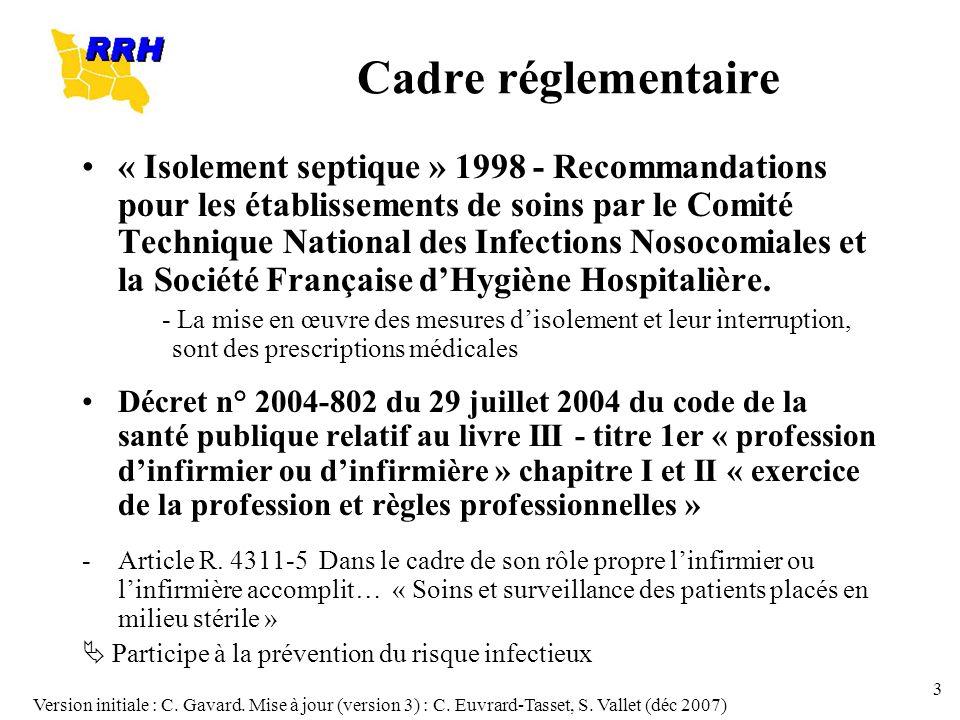 Version initiale : C. Gavard. Mise à jour (version 3) : C. Euvrard-Tasset, S. Vallet (déc 2007) 3 Cadre réglementaire « Isolement septique » 1998 - Re