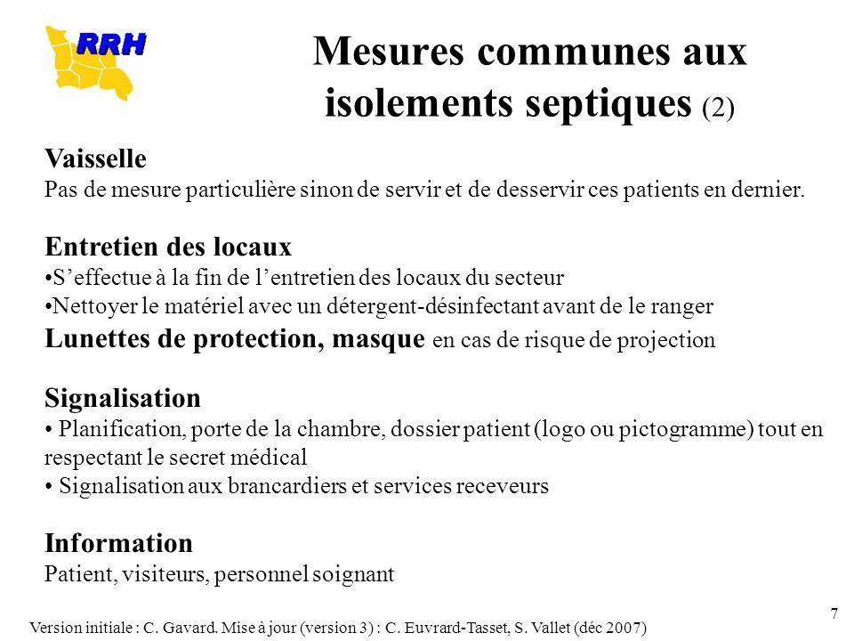 Version initiale : C. Gavard. Mise à jour (version 3) : C. Euvrard-Tasset, S. Vallet (déc 2007) 7 Vaisselle Pas de mesure particulière sinon de servir
