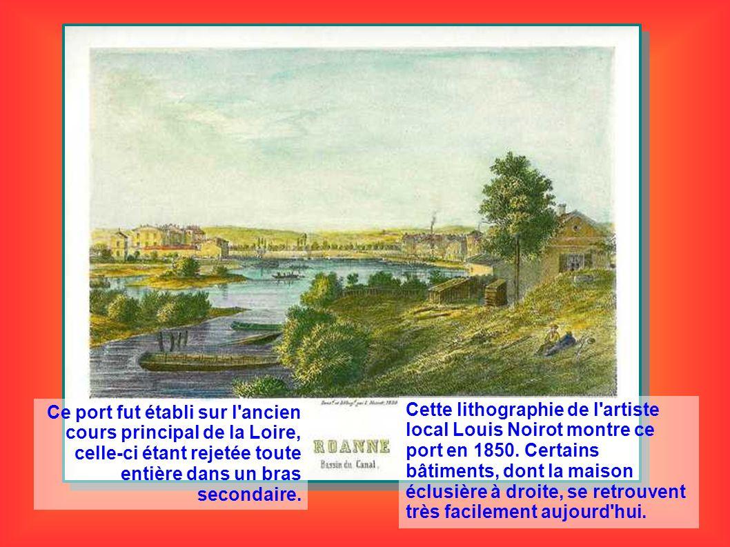 Ce port fut établi sur l'ancien cours principal de la Loire, celle-ci étant rejetée toute entière dans un bras secondaire. Cette lithographie de l'art