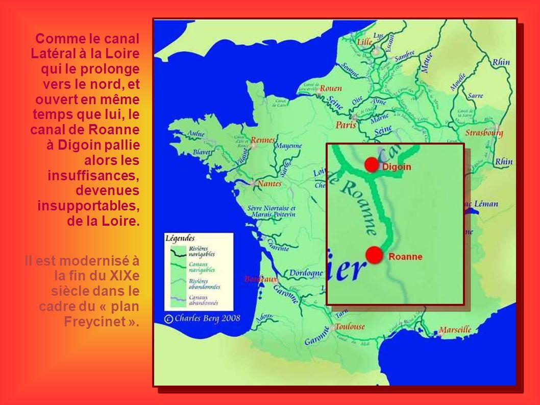 Comme le canal Latéral à la Loire qui le prolonge vers le nord, et ouvert en même temps que lui, le canal de Roanne à Digoin pallie alors les insuffis