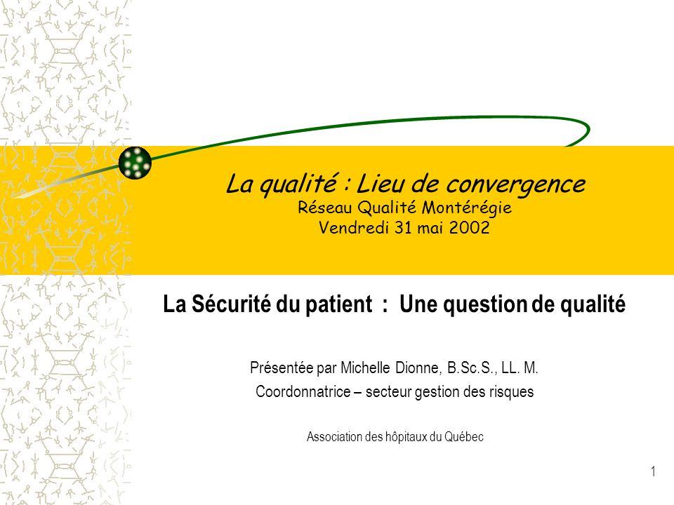 1 La qualité : Lieu de convergence Réseau Qualité Montérégie Vendredi 31 mai 2002 La Sécurité du patient : Une question de qualité Présentée par Miche