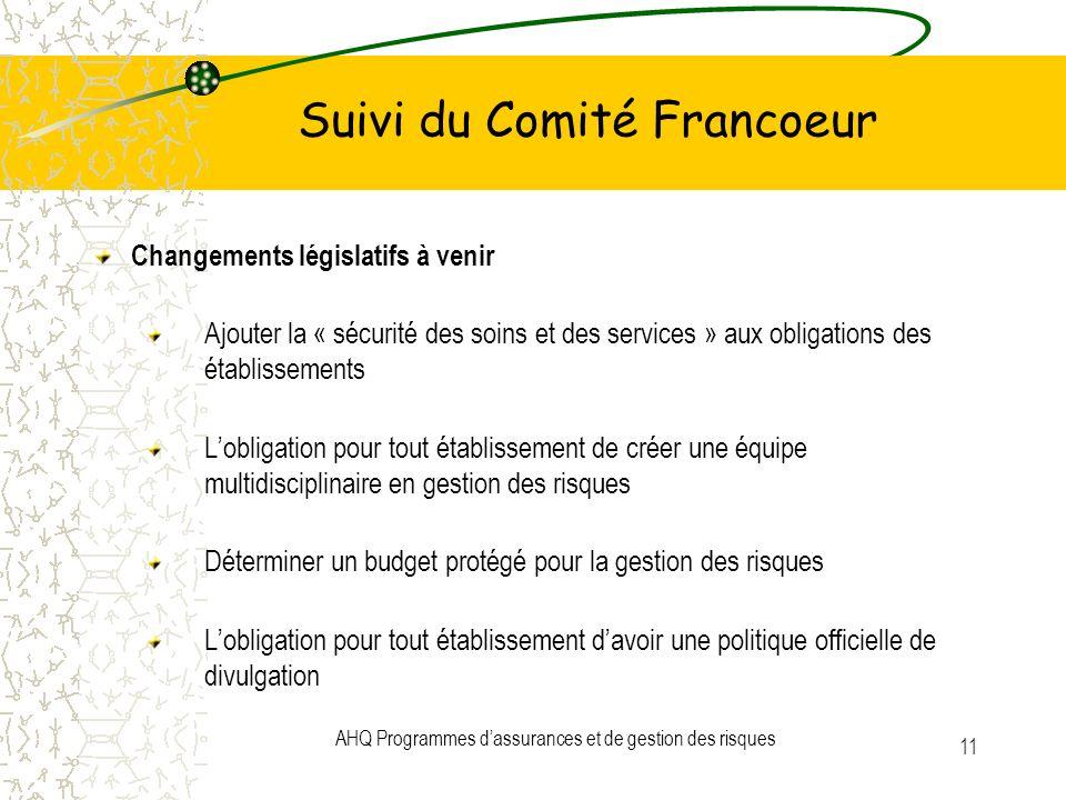 AHQ Programmes dassurances et de gestion des risques 11 Suivi du Comité Francoeur Changements législatifs à venir Ajouter la « sécurité des soins et d
