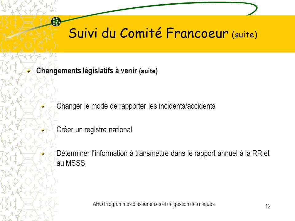 AHQ Programmes dassurances et de gestion des risques 12 Suivi du Comité Francoeur (suite) Changements législatifs à venir (suite ) Changer le mode de