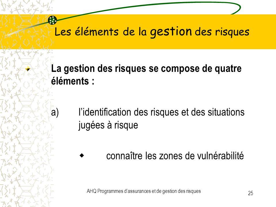 AHQ Programmes dassurances et de gestion des risques 25 Les éléments de la gestion des risques La gestion des risques se compose de quatre éléments :