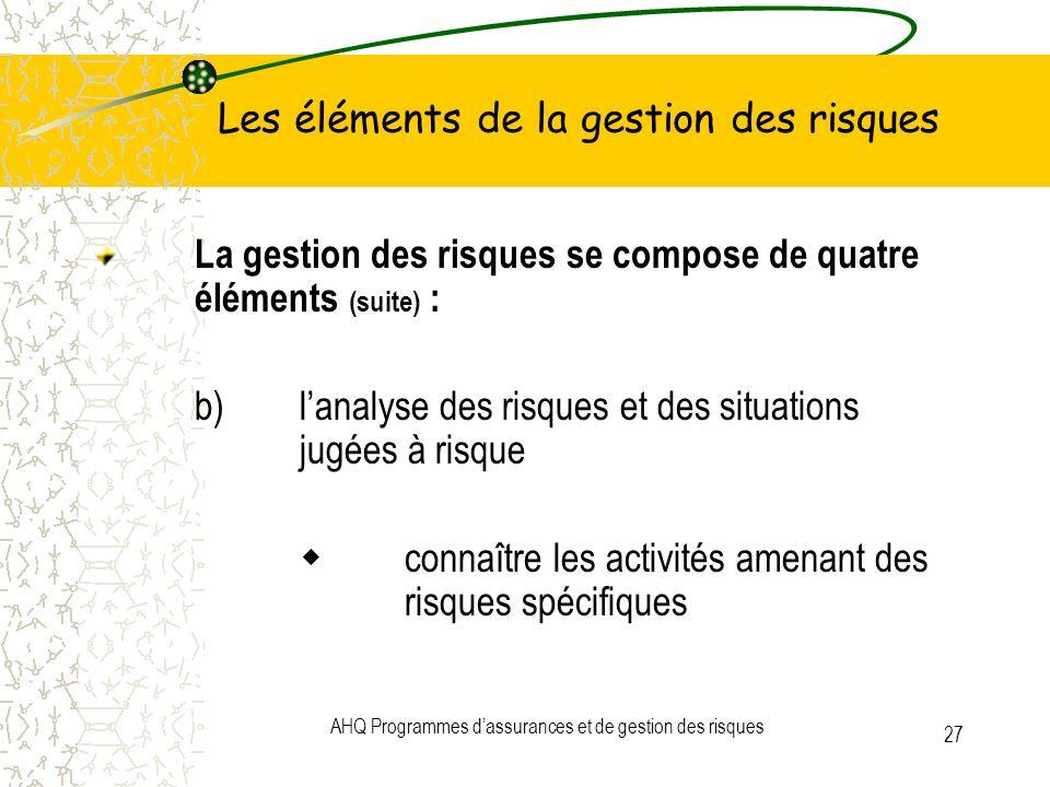 AHQ Programmes dassurances et de gestion des risques 27 Les éléments de la gestion des risques La gestion des risques se compose de quatre éléments (s