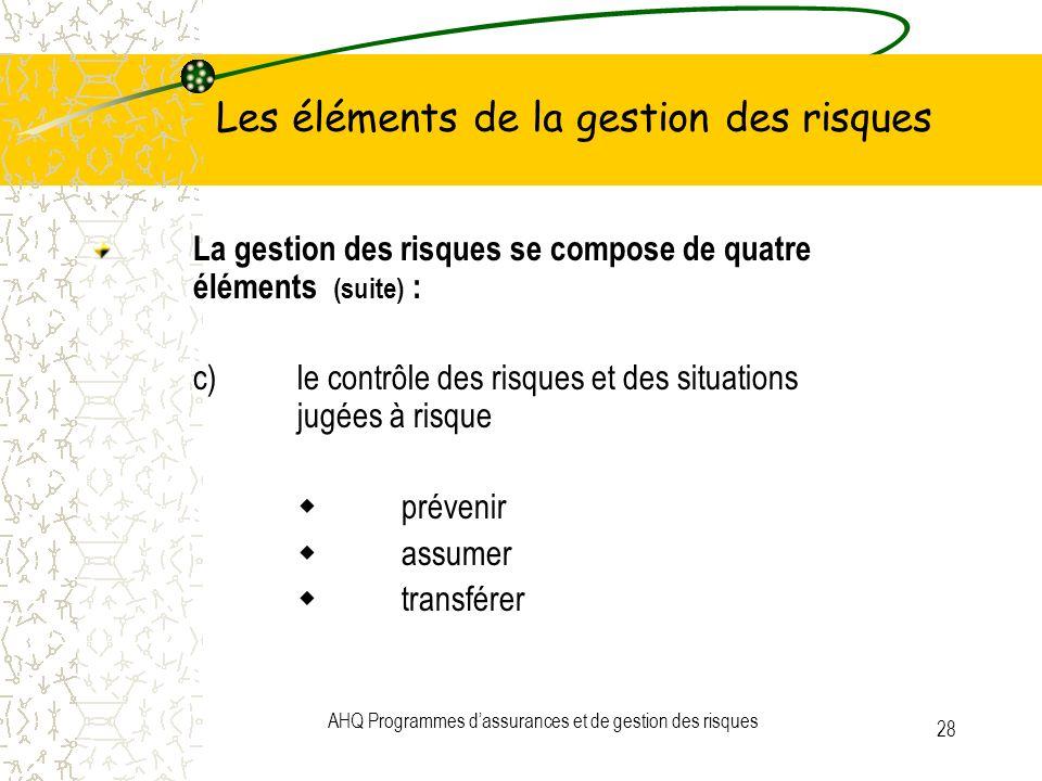 AHQ Programmes dassurances et de gestion des risques 28 Les éléments de la gestion des risques La gestion des risques se compose de quatre éléments (s