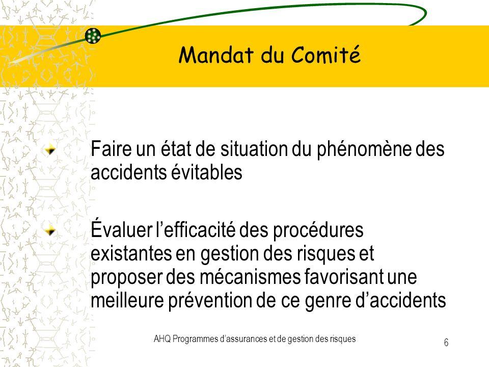 AHQ Programmes dassurances et de gestion des risques 6 Mandat du Comité Faire un état de situation du phénomène des accidents évitables Évaluer leffic