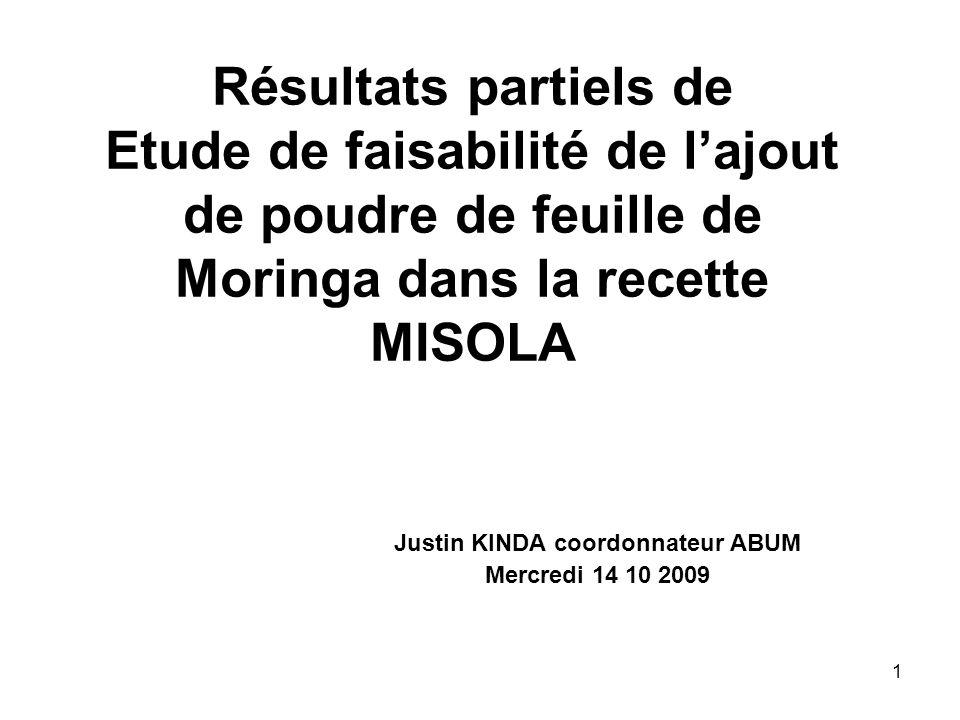 Résultats partiels de Etude de faisabilité de lajout de poudre de feuille de Moringa dans la recette MISOLA Justin KINDA coordonnateur ABUM Mercredi 1