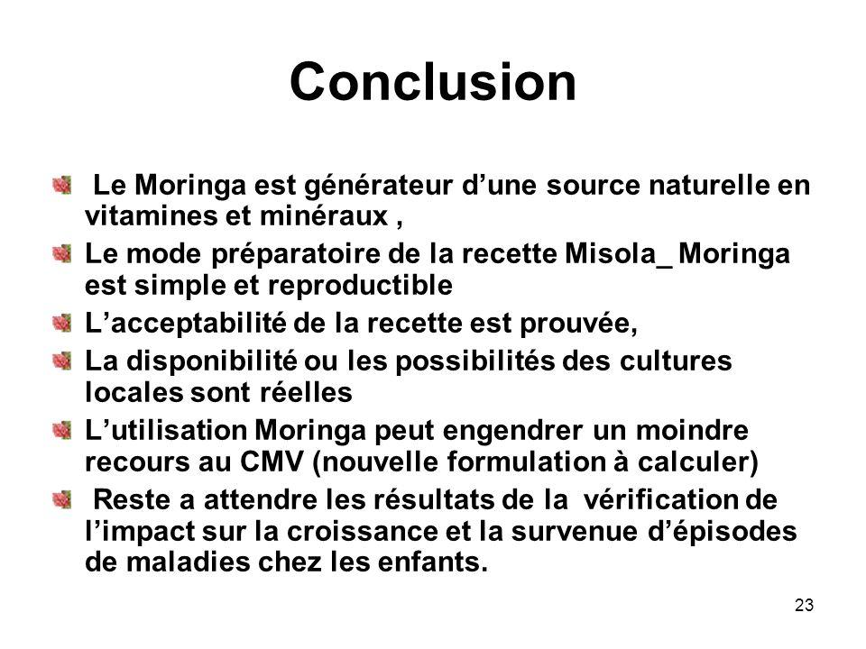 Conclusion Le Moringa est générateur dune source naturelle en vitamines et minéraux, Le mode préparatoire de la recette Misola_ Moringa est simple et
