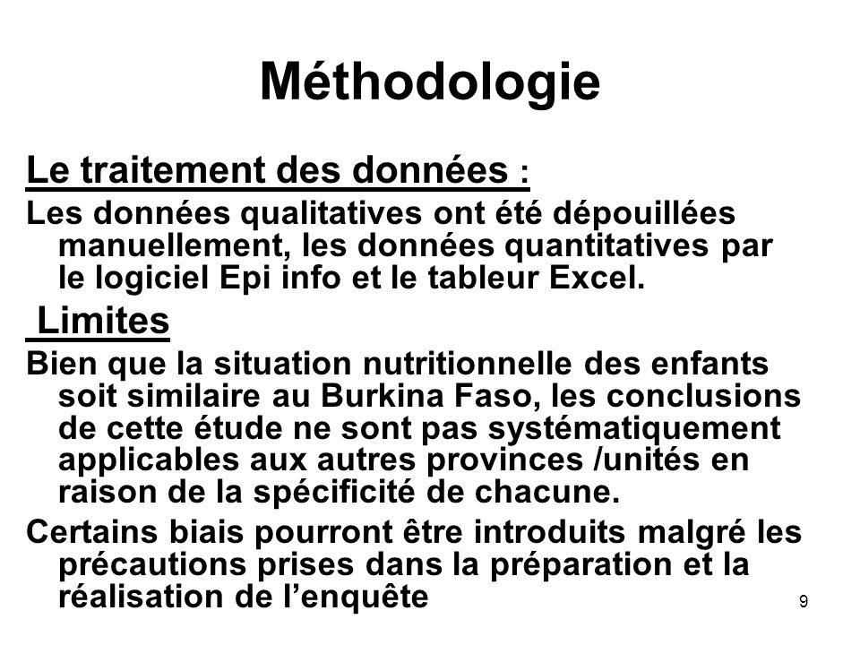 Méthodologie Le traitement des données : Les données qualitatives ont été dépouillées manuellement, les données quantitatives par le logiciel Epi info