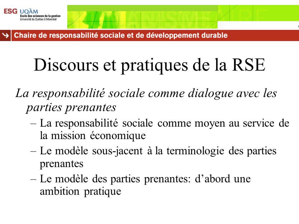Discours et pratiques de la RSE La responsabilité sociale comme dialogue avec les parties prenantes –La responsabilité sociale comme moyen au service
