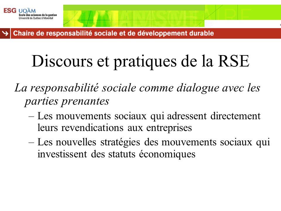 Discours et pratiques de la RSE La responsabilité sociale comme dialogue avec les parties prenantes –Les mouvements sociaux qui adressent directement