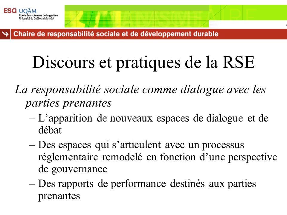 Discours et pratiques de la RSE La responsabilité sociale comme dialogue avec les parties prenantes –Lapparition de nouveaux espaces de dialogue et de