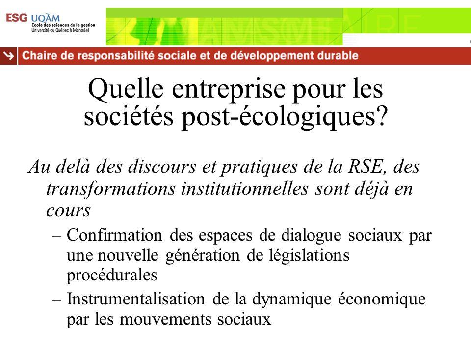 Quelle entreprise pour les sociétés post-écologiques? Au delà des discours et pratiques de la RSE, des transformations institutionnelles sont déjà en