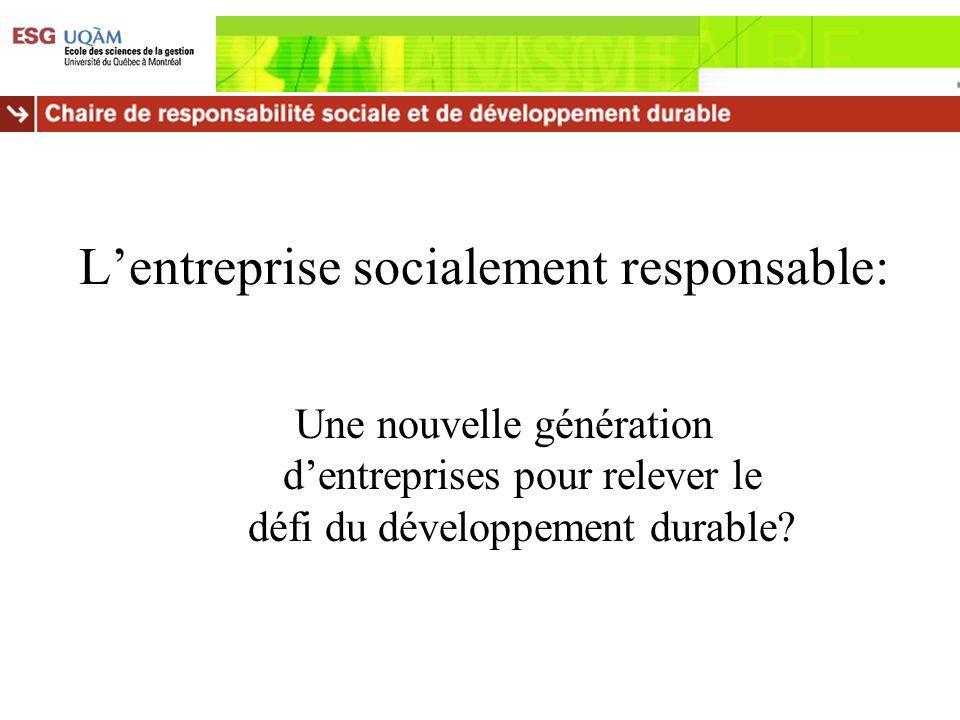 Lentreprise socialement responsable: Une nouvelle génération dentreprises pour relever le défi du développement durable?