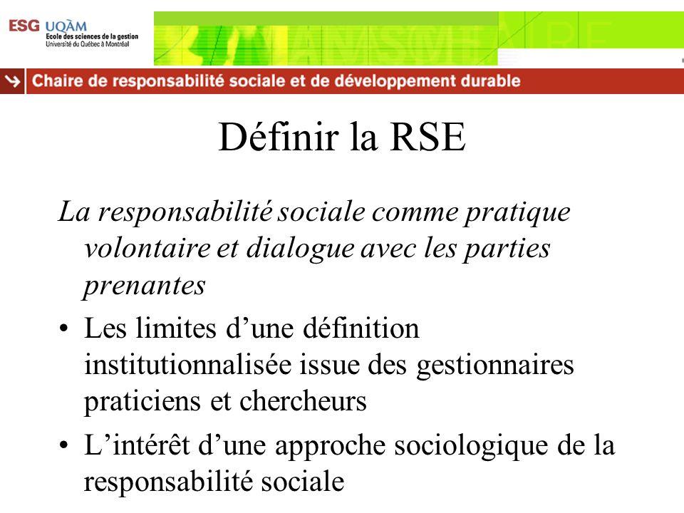 Définir la RSE La responsabilité sociale comme pratique volontaire et dialogue avec les parties prenantes Les limites dune définition institutionnalis