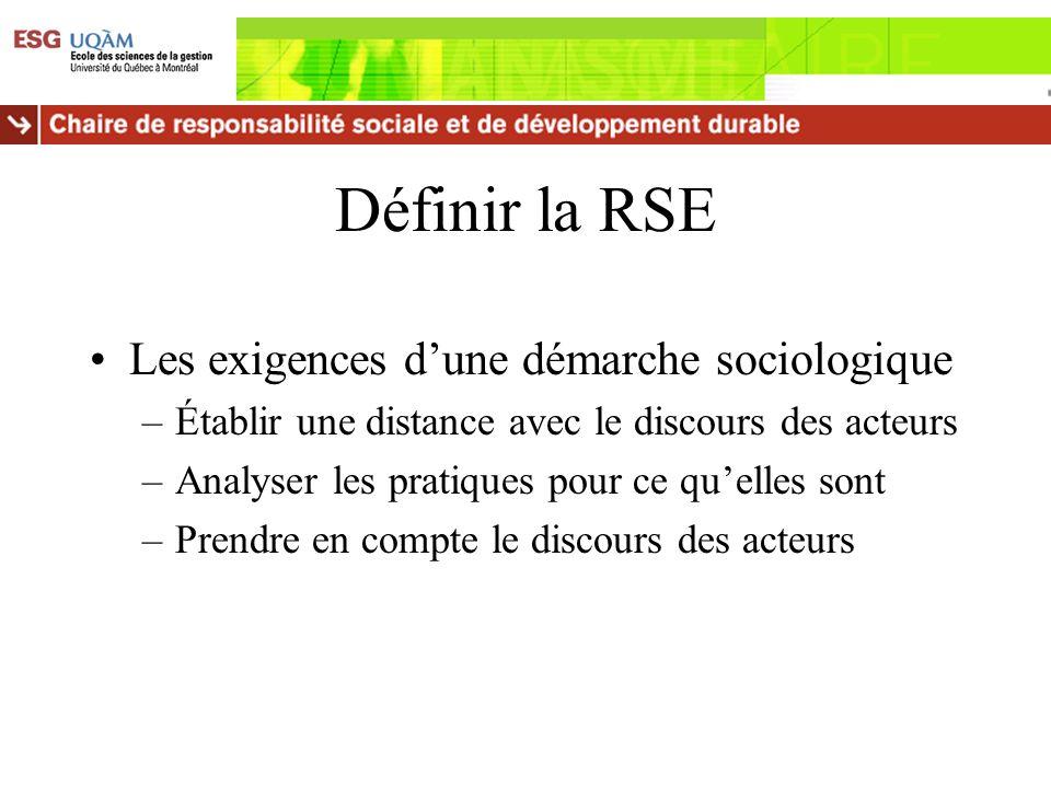 Définir la RSE Les exigences dune démarche sociologique –Établir une distance avec le discours des acteurs –Analyser les pratiques pour ce quelles son