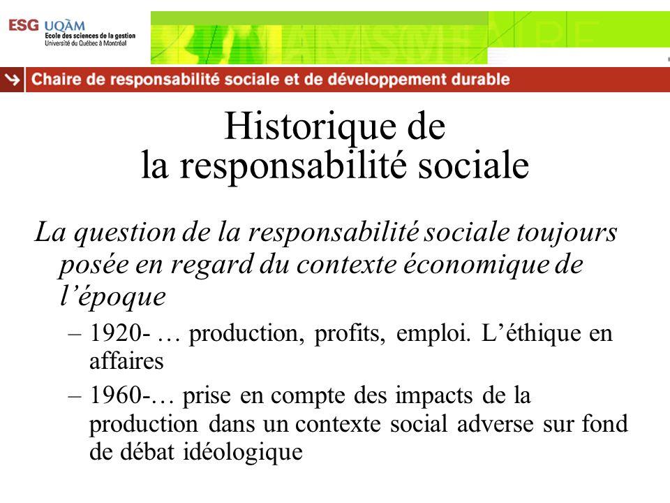 Historique de la responsabilité sociale La question de la responsabilité sociale toujours posée en regard du contexte économique de lépoque –1920- … p