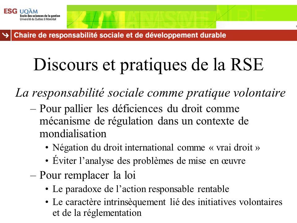 Discours et pratiques de la RSE La responsabilité sociale comme pratique volontaire –Pour pallier les déficiences du droit comme mécanisme de régulati