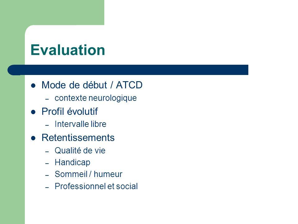 Evaluation Mode de début / ATCD – contexte neurologique Profil évolutif – Intervalle libre Retentissements – Qualité de vie – Handicap – Sommeil / hum
