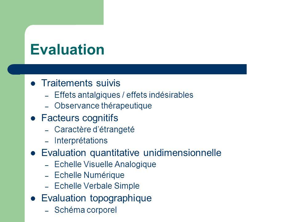 Evaluation Traitements suivis – Effets antalgiques / effets indésirables – Observance thérapeutique Facteurs cognitifs – Caractère détrangeté – Interp