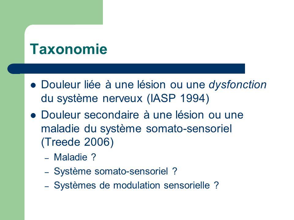 Taxonomie Douleur liée à une lésion ou une dysfonction du système nerveux (IASP 1994) Douleur secondaire à une lésion ou une maladie du système somato